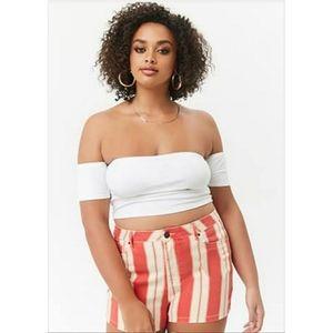 FOREVER 21 Plus Size Striped Denim Shorts Size 18